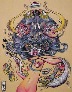Lauren YS #art #illustration #drawing #surreal #popsurrealism #weird #strange #awesome #alien #anime
