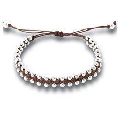 Silver Friendship Bracelet Brown