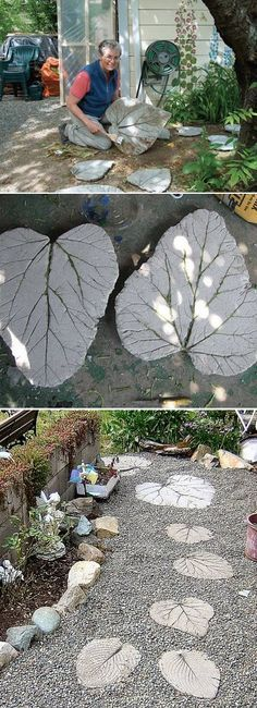 Rhubarb leaf stepping stones...i really love this idea...wonder where I could get huge leaves. lol