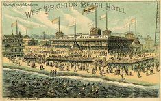 Coney Island Amusement Park, Brighton Hotels, Places In America, Boston Public Library, Seaside Resort, Beach Hotels, Album, Paris Skyline, Poster