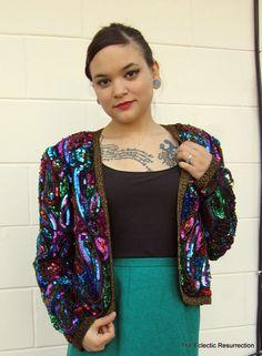 Vintage Sequin Bolero Jacket-Silk-Leslie Fay Evenings-L.