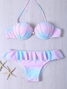 $14.27 Halter Color Ombre Bra + Flounced Briefs Bikini Set