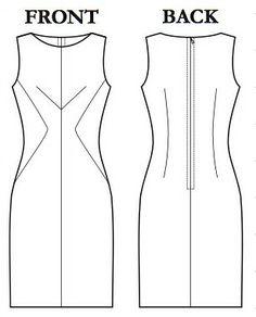 SunnyGal Studio Sewing: The Brasilia Dress, a fitting post Fashion Illustration Sketches, Fashion Design Sketches, Fashion Design Template, Clothing Patterns, Sewing Patterns, Flat Sketches, Dress Making Patterns, Dress Drawing, Dress Tutorials