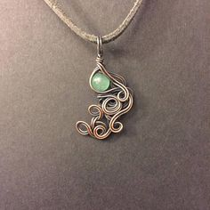 Jadeite Copper Wrapped Pendant Necklace
