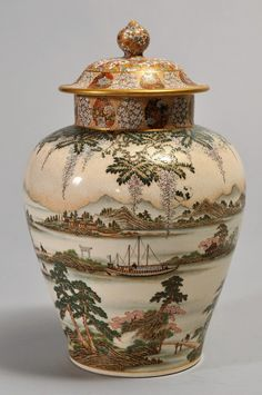 "Exceptional Yabu Meizan Satsuma covered urn with all-over finely decorated landscape scene and floral decoration. Signed on base with gilt seal. 10-1/8"" high."