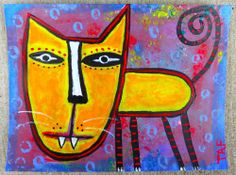 Tracey Ann Finley Original Outsider Raw Brut Folk Painting Yellow Kitty Cat 6x8