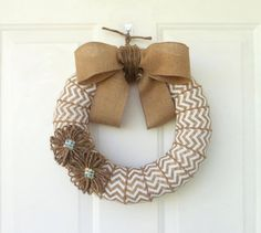 Chevron burlap wrapped around styrofoam wreath