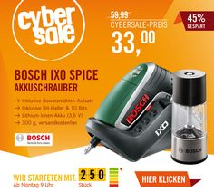 Bosch IXO Spice Akkuschrauber + Gewürzmühlen-Aufsatz für 33 Euro.    Der CyberSale von Cyberport. Markentechnik zum Mega-Tiefpreis. Achtung: Nur solange der Vorrat reicht.