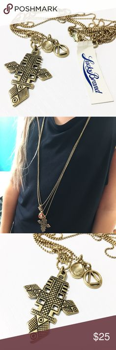 """NWT Lucky Brand 3-strand Cross Necklace This long necklace has 3 beautiful strands of goodies from Lucky Brand and is 29"""" long. Has a 2"""" extender. New with tags and in pristine condition. Questions? Please ask. Sorry, no trades. Bundle for a discount! Lucky Brand Jewelry Necklaces"""