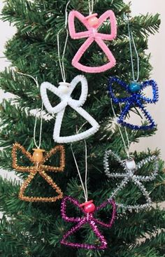 Easy Angel Crafts Wire Cross Angel five angels hanging on a tree – MUST make with my girls this Christmas! Easy Angel Crafts Wire Cross Angel five angels hanging on a tree – MUST make with my girls this Christmas! Using a short piece of yarn, add a be Christmas Angel Crafts, Diy Christmas Ornaments, Christmas Angels, Christmas Projects, Christmas Fun, Holiday Crafts, Christmas Decorations, Angel Ornaments, Tree Decorations