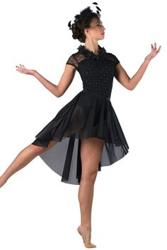Style# 17384 TWO BLACK CADILLACS  Glitter printed flocked black mesh and black spandex leotard. Separate crepe skirt. Ruffle trim. Headpiece included. SC-XXLA