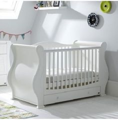 NEW-TUTTI-BAMBINI-WHITE-LOUIS-SLEIGH-COT-BED-DRAWER-CHILDS-FIRST-COTBED