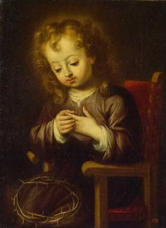 Infant Christ Pricked with the Crown of Thorns, by  Bartolome Esteban Murillo, 1617-1682