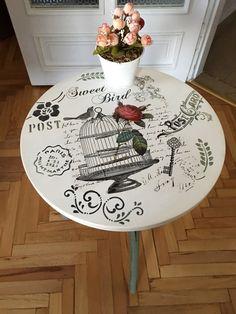 Ahşap sehpa boyama Decoupage Suitcase, Decoupage Furniture, Recycled Furniture, Art Furniture, Furniture Makeover, Vintage Furniture, Painted Furniture, Deco Podge, Iron Orchid Designs