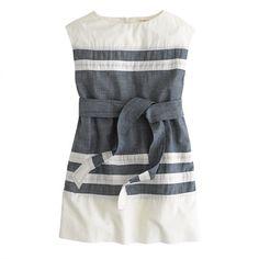 Girls' chambray-stripe dress