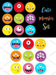 Halloween Cards, Happy Halloween, Sad Faces, Monster Design, Cute Monsters, Third Eye, Icon Set, Black Backgrounds, Illustration
