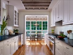Galley Kitchen #galley kitchen. Love the colors and the direct sight line.
