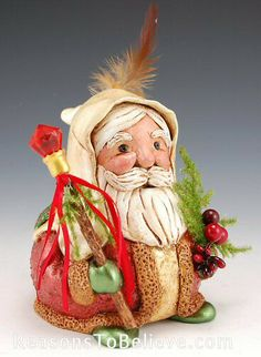 Kathy Bixby Friar Claus with Gifts | Santa Claus Figurines and Hand Carved Wooden Santas