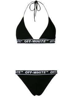 38469fcebc409 Shop Off-White logo print bikini Logos, White Bikinis, Crop Tops, Swim