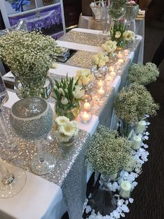 Silver sequin table runners make a statement