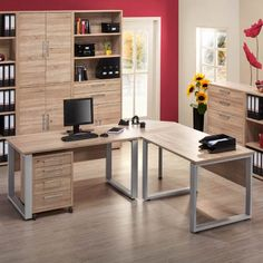 Maja Contact Office Furniture Collection in light oak finish