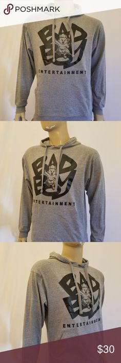 Men Bad Boy Entertainment  Gray Hoodie New 80% Cotton 20% Polyester AMS Hoodie. Silk Screen Print. Print can also available on T-Shirts or Tank Tops if preffered.. 📌Prices have been fairly placed taking your shipping costs and my fees into account.  Print also available on black hoodie in separate listing. Shirts Sweatshirts & Hoodies