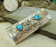 Vtg Willie Mariano Navajo Sterling Silver & Turquoise Lighter Cover; Amazing!!
