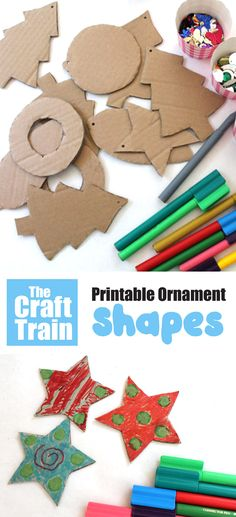 Make easy DIY ornaments from cardboard with this set of printable Christmas shapes. This is a fun, creative and easy Christmas craft for kids of all ages.  #printable #christmasprintables #printableshapes #thecrafttrain #kidschristmas #kidscrafts #kidsactivities #creativefun
