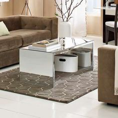 this mirrored coffee table makes my heart race. Furniture Making, Living Room Furniture, Home Furniture, Living Room Decor, Dining Rooms, Furniture Ideas, Mirrored Furniture, Living Room Inspiration, Lounges