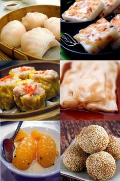 Dim sum: Har gow, su mei, mango pudding (in shape of hearts or goldfish in sweet condensed milk), sesame balls, etc.