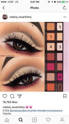 Anastasia Beverly Hills Modern Renaissance palette - makeup_more_pintennium Makeup Goals, Makeup Inspo, Makeup Inspiration, Makeup Tips, Skin Makeup, Eyeshadow Makeup, Shimmer Eyeshadow, Cream Eyeshadow, Renaissance Makeup