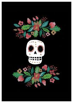 Día de los muertos Art Print. Mexicano. Floral. por HelloPants