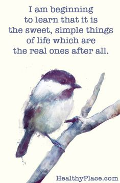 Positive Quote: I am beginning to learn that it is the sweet, simple things of life which are the real ones after all. www.HealthyPlace.com