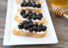 Roasted Blueberry Ricotta Crostini | Blueberry Crostini Recipe | Two Peas & Their Pod