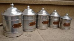 vintage 5 french white metal aluminium canisters by sissidavril, $60.00