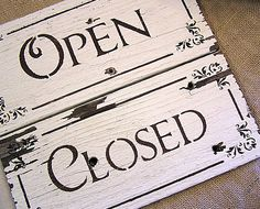 Vintage Reclaimed Wood Chippy White Paint OPEN CLOSED Reversible Sign. $18.00, via Etsy.