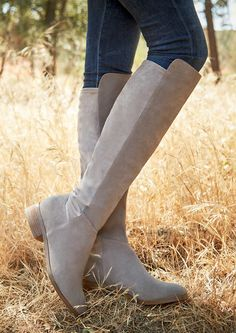 Casual suede boots with a mini stacked heel and a stretchy back panel | Sole Society Calypso