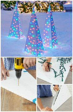 20 Impossibly Creative DIY Outdoor Christmas Decorations - I absolutely love decorating for Christmas! I also love changing up my decorations from time to time, particularly the outdoor ones. If you've been looking for new ways to dress up your lawn this Outside Christmas Decorations, Diy Christmas Lights, Christmas Time, Tree Decorations, Diy Outdoor Christmas Decorations, Christmas Vacation, Outdoor Christmas Trees, Xmas Lights, Christmas Island