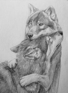 Hug me by NataliWF.devianta… on Hug me by NataliWF.devianta… on Cool Sketches, Art Drawings Sketches, Wolf Tattoos, Animal Tattoos, Animal Sketches, Animal Drawings, Wolf Drawings, Wolf Sketch, Wolf Artwork