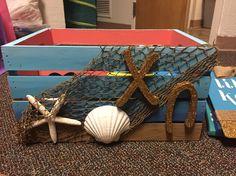 Chi omega big little crafts sorority crate beach themed blue coral sand starfish shells glitter