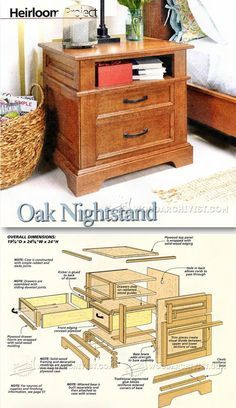 Oak Nightstand Plans - Furniture Plans and Projects | WoodArchivist.com