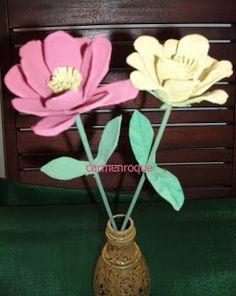 El rincon de las manualidades: Flores con carton de huevos