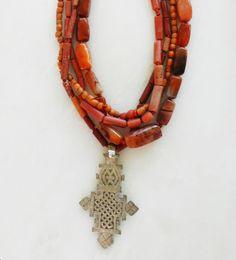 Coral Beads with Silver Cross – ibumovement.com