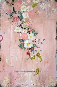 Kathe Fraga Art, Kathe's Paintings Are Inspired By The Romance Of Vintage French Wallpapers And Chinoiserie With A Modern Twist. Become flushed, On Frescoed Birch Panel With Japanese Gold Inkoil Glaze. Arte Floral, Motif Floral, Floral Wall Art, Floral Patterns, Floral Flowers, Chinoiserie, Art Design, Design Room, Painting Inspiration