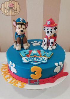 Tarta de la patrulla canina con Chase y Marshall hechos en fondant Paw Patrol fondant cake