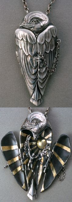 'A Tear for Icarus' locket - polymer metal clay {PMC3 (.999 silver), Aura22 (22K gold)}, sterling silver wire - Terry Kovalcik