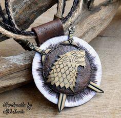 Direwolf pendant Direwolf necklace House by HandmadeByAleksanta