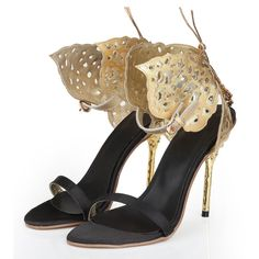 Golden Butterfly Slingback Stiletto High Heel Sandals ($61) ❤ liked on Polyvore