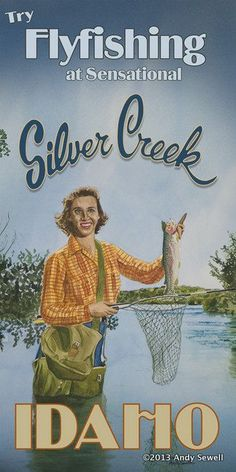 Fish Silvercreek - 6 x 12 Archival Vintage Look fly fishing art print original watercolor print by Andy Sewell Fly Fishing Gear, Fishing 101, Fishing Rods, Fishing Tackle, Fishing Basics, Carp Fishing, Fishing Photography, Old Images, Sea Fish