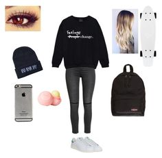 """""""Sans titre #37"""" by thiffanyx3 ❤ liked on Polyvore featuring adidas, H&M, dELiA*s and Eastpak"""